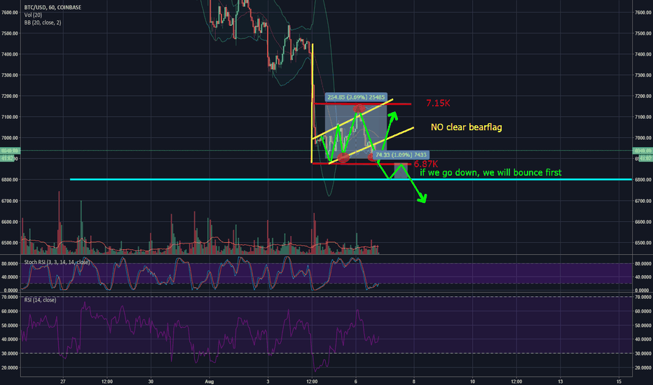 BTCUSD: My trades for the upcomming hours (BTC) (short term, 1hr chart)