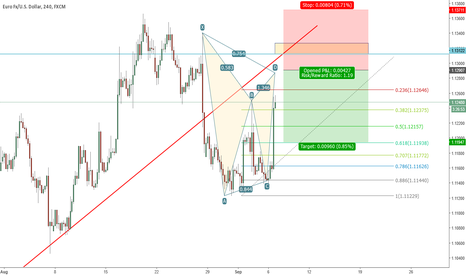 EURUSD: Possible EURUSD BAT Pattern 1H