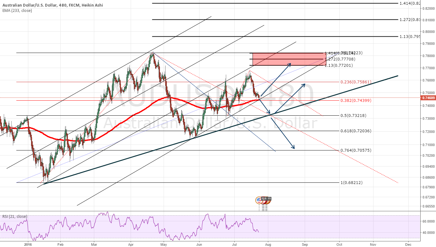 AUDUSD TRENDLINES - FIBS - ON SUPPORT ? - WAIT AND SEE