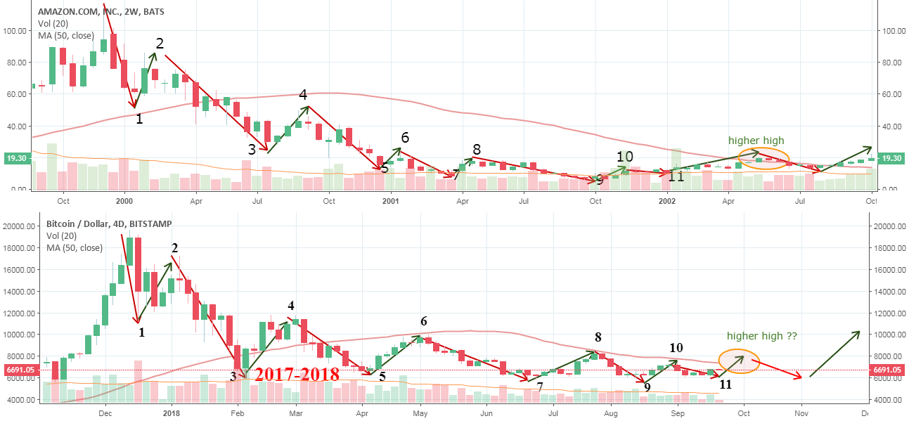 Amazon 1999-2002 is related to Bitcoin 2017-2018
