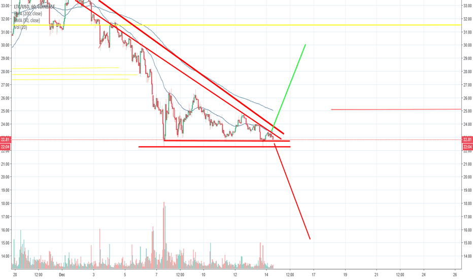 LTCUSD: Large descending triangle formation should signal the next move