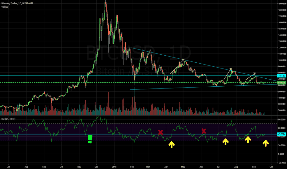 BTCUSD: BTC ready to make a Bull Run? RSI evidence indicates, possible.