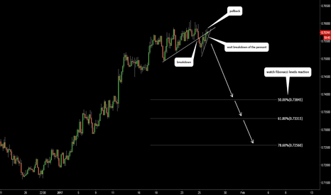 AUDUSD: AUDUSD. Pennant at the pullback.