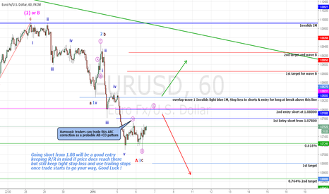 EURUSD: EURUSD Probable AB=CD or ABC correction (Short)