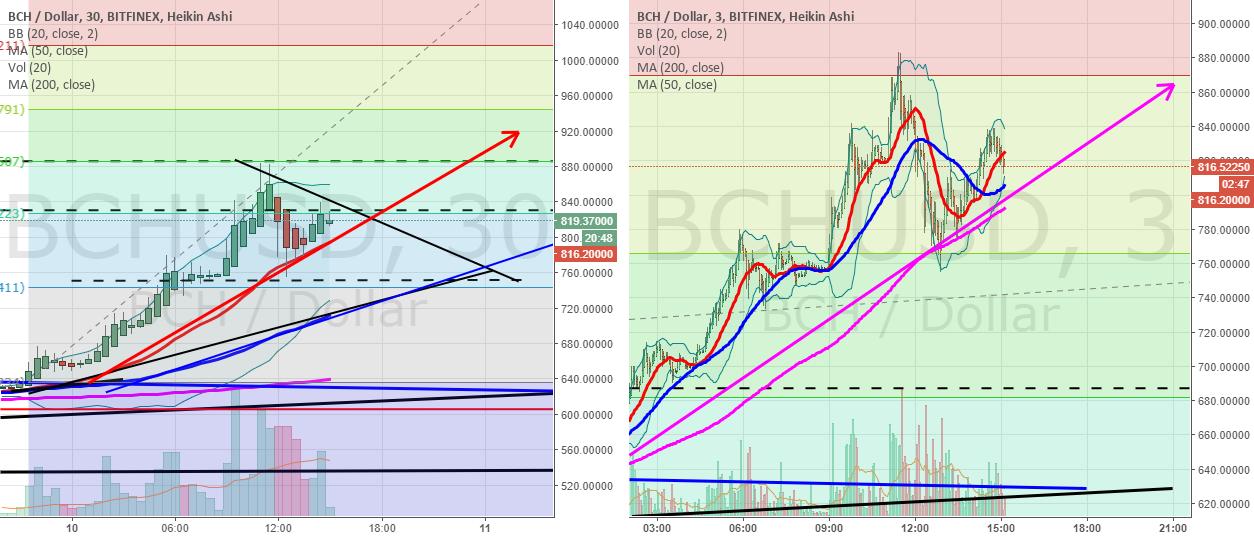 BCHUSD the 30 min and 3 min charts