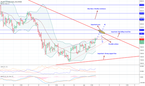XBT: BTCUSD :  Bitcoin / US Dollar Index XBT on a critical level