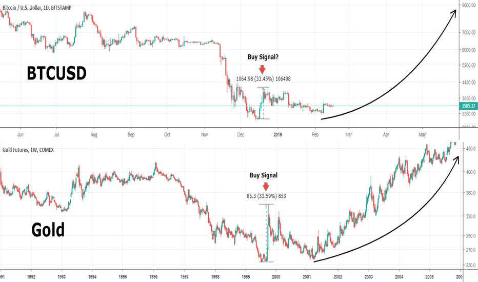 BTCUSD: Can Bitcoin hit 9000 this year? Gold shows the way.