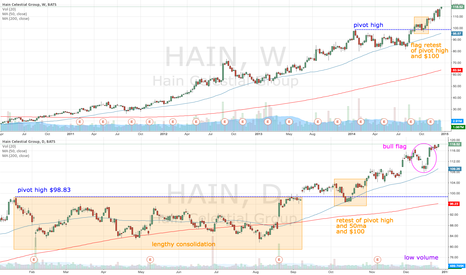 HAIN: HAIN bull flag as price approached $120