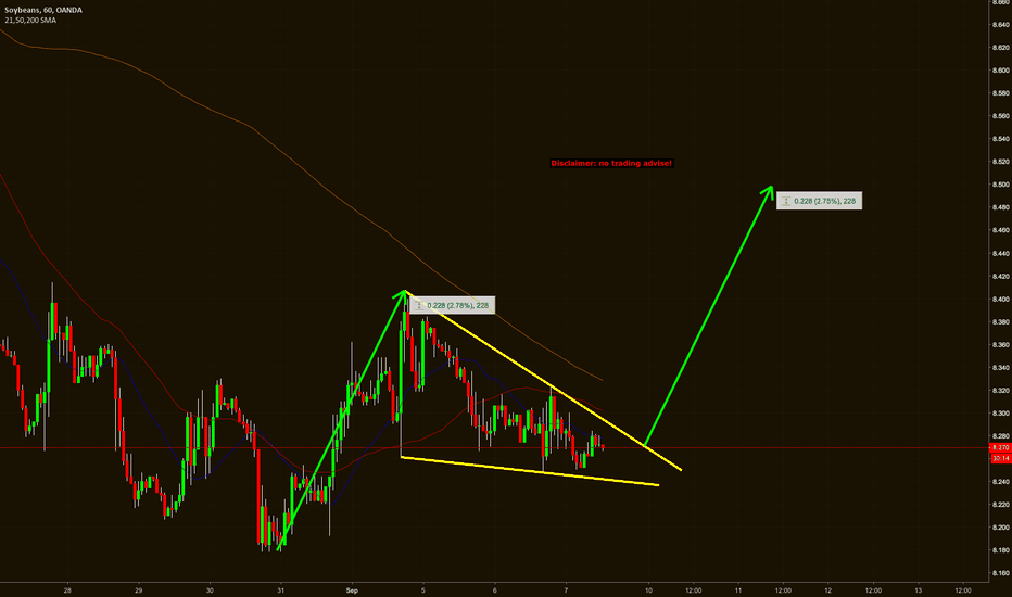 SOYBNUSD: Soybeans  - 60m - falling wedge continuation