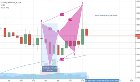 USDCAD: Bearish Butterfly on USD CAD Hourly.