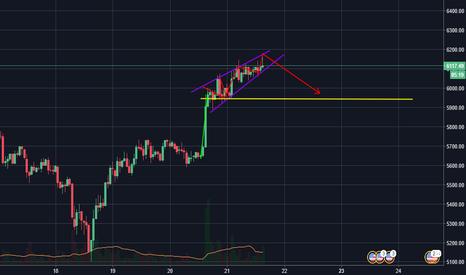 BTCUSD: rising wedge - another short idea btc