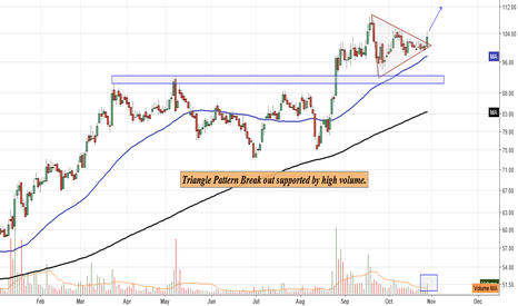TRIDENT: Triangle Pattern Break out supported by high volume.