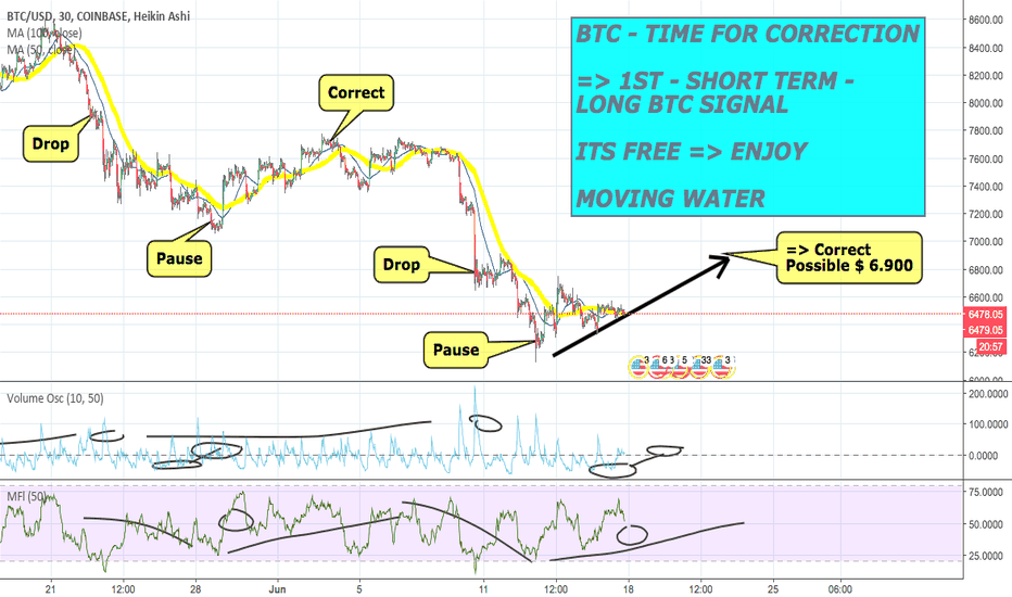 BTCUSD: #BTCUSD - TIME FOR CORRECTION ! - POSSIBLE $ 6.900 - SHORT TERM!