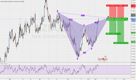NZDUSD: Gartley pattern at market NZD/USD 4hr chart
