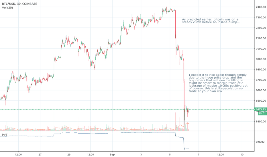 BTCUSD: HUGE BITCOIN DUMP. PRICE IS GOING TO RISE TRADING ADVICE!!!!