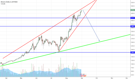 BTCUSD: Looks like Rising Wedge on BTCUSD.