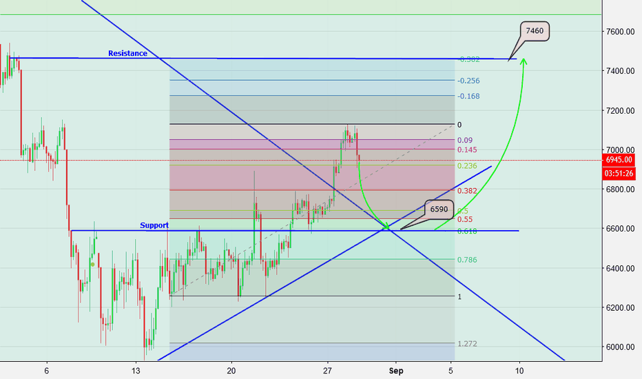 BTCUSD: BTC Possibly down to 6590 Then up to 7460