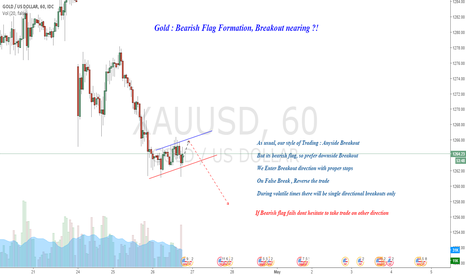 XAUUSD: Gold : Bearish Flag Formation, Breakout Nearing ?!