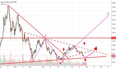 BTCUSD: BTC/USD отработка плоского треугольника 6800$==>8500$