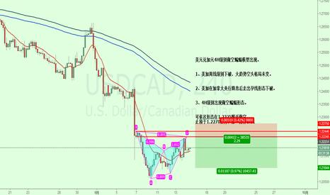 USDCAD: 美元兑加元4H级别做空蝙蝠模型出现。