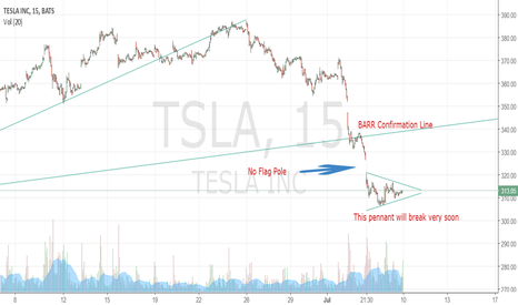 TSLA: A closer look at the possible pennant.