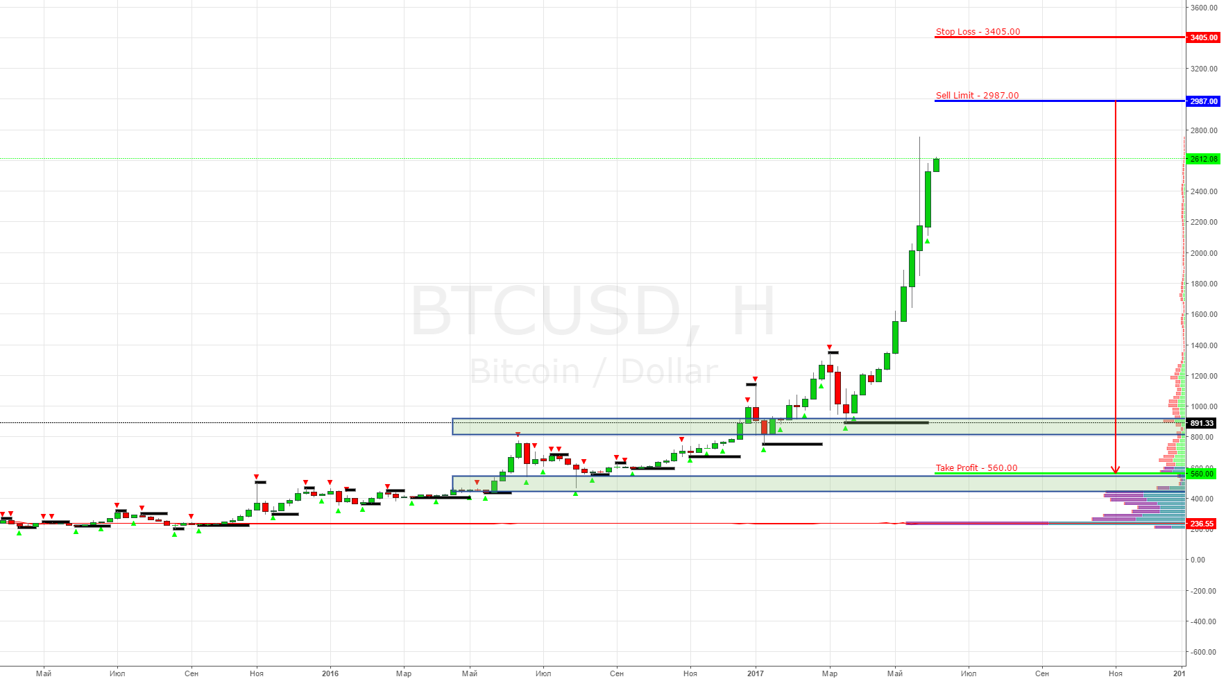 BTC/USD (Bitcoin) Sell Limit 2987.00 (Долгосрок на 6-9 месяцев)