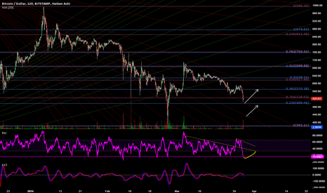 BTCUSD: RSI Nearing Bottom: Once again long term Fib Fan Predicts Bottom