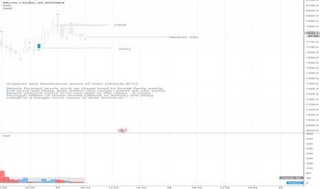 BTCUSD: Support and Resistance areas of note (Hourly BTCUSD)