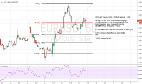 EURUSD: I am shorting to 1.1185 with a stop at 1.1238.
