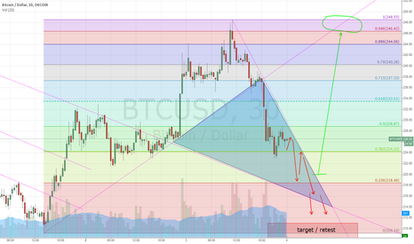 BTCUSD: Possible short term movement to retest 205
