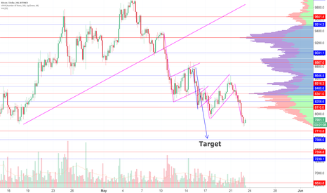 BTCUSD: My Target of approximately 7600 Has Not Waivered