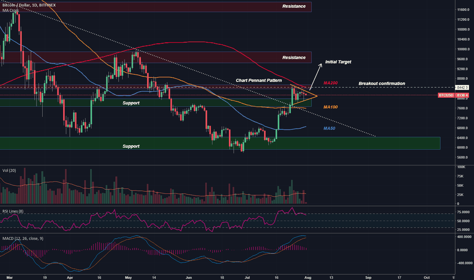 BTCUSD: Bitcoin - A Bullish Pennant & The Supports Getting Bought.