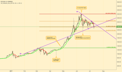 BTCUSD: BTCUSD testing $2300 support 11-June-2017 (Daily)