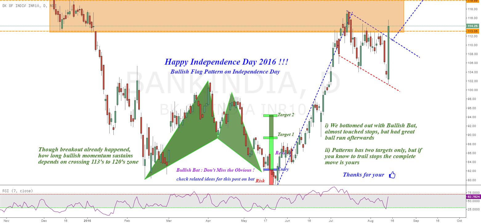 Bank of India : After Bullish Bat, Bullish Flag !