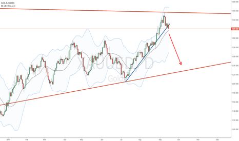 XAUUSD: Gold broke mid term trendline, at upside of a bearish pennant