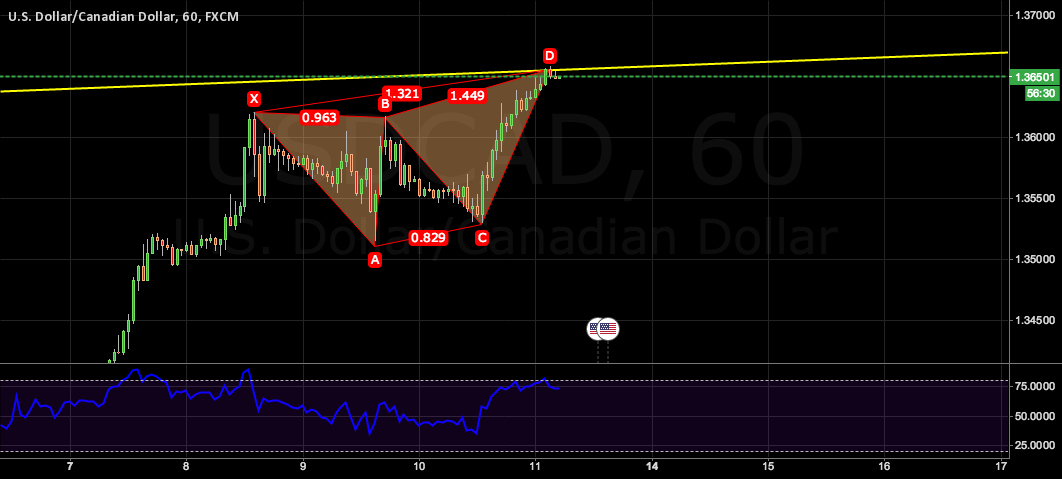 Butterfly pattern on the top of channel with overbought RSI