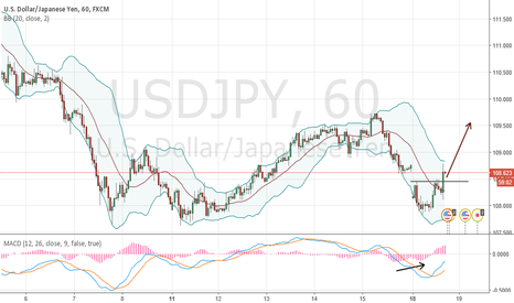 USDJPY: 1HR - W Bottom BB - MACDH Divergence