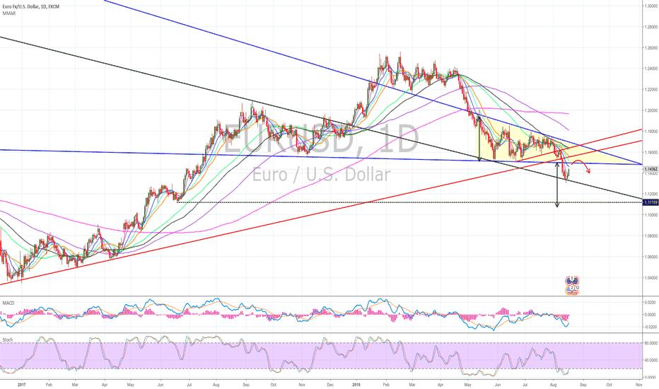 EURUSD: EURUSD falling triangle & LT TL