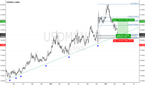 USDMXN: USDMXN D1: At the Trendline