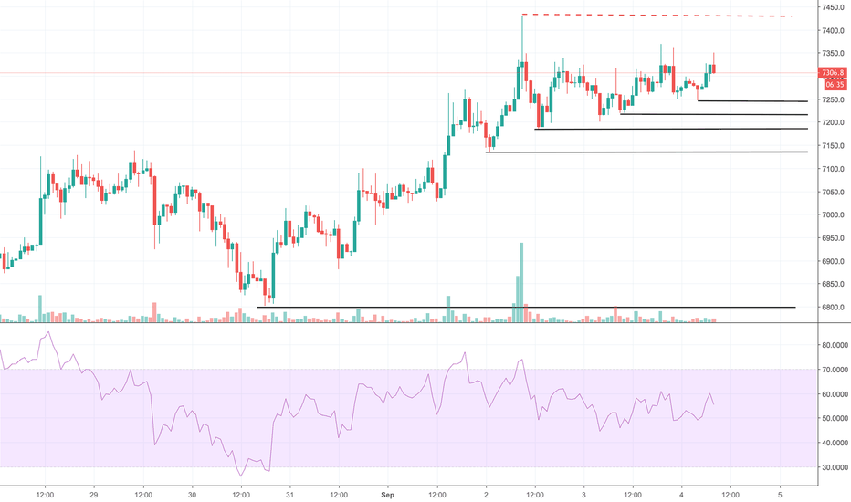BTCUSD: Bitcoin formt stetige higher lows, long ab 7.500 $