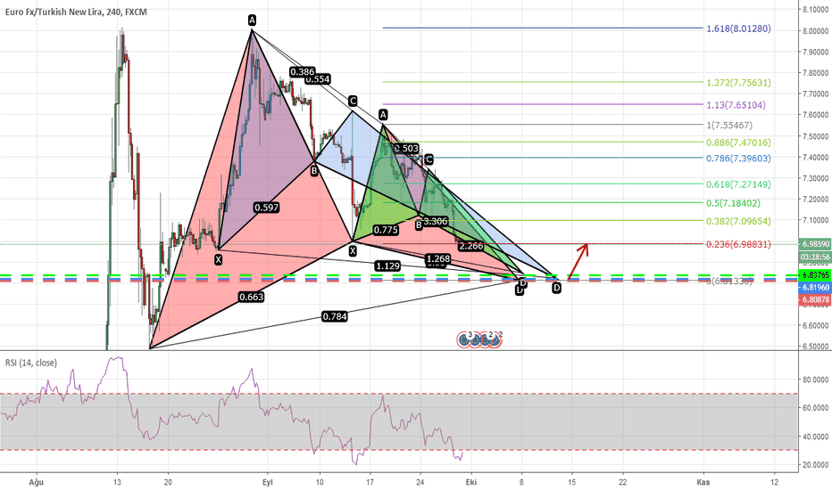 EURTRY: Gartley + Kelebek + Shark