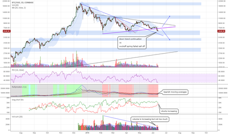 BTCUSD: BTC triangle downtrend continuation vs Wyckoff spring