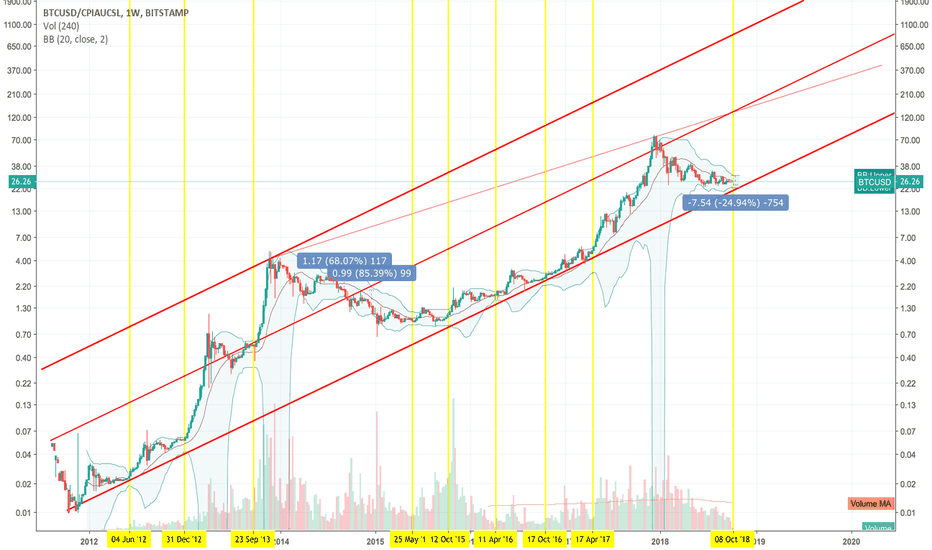 BTCUSD/CPIAUCSL: Bitcoin getting ready to move up again. (Log Scale & Inflation)
