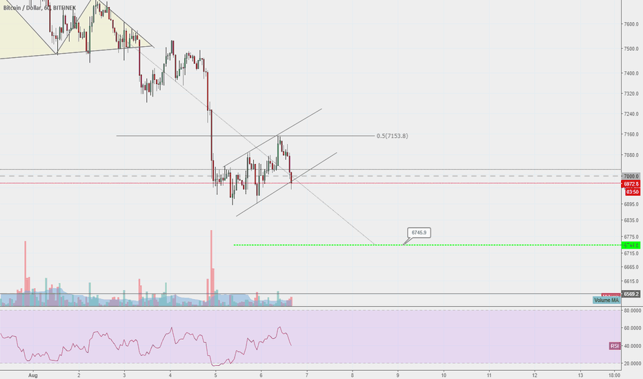BTCUSD: Further downside for Bitcoin expected