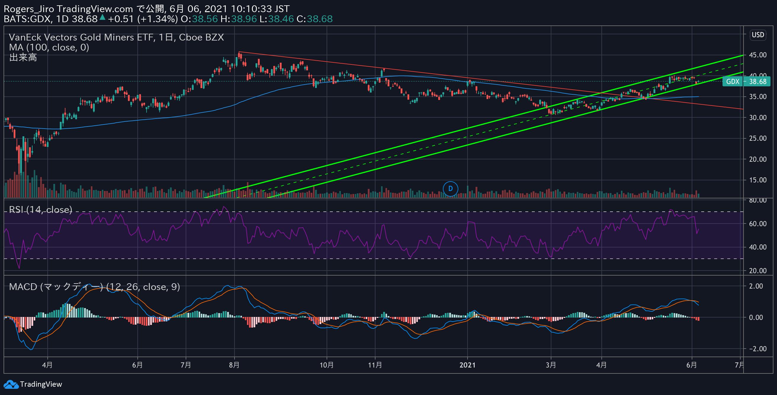 GDX(金鉱株)の20203月初来チャート