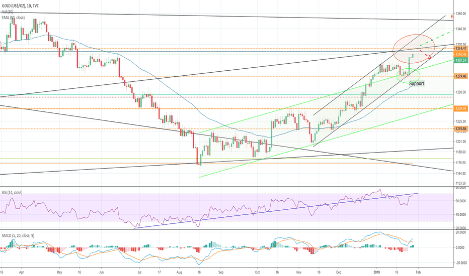 GOLD: Gold shortly before resistance