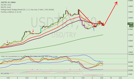 USDTRY: USDTRY long from lows. TP1: 3.94 TP2: 4.00
