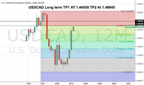USDCAD: USDCAD Long term TP1 AT 1.44558 TP2 At 1.49645