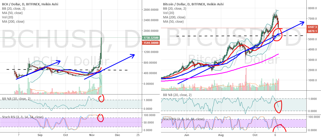 BCHUSD and BTCUSD 50 day averages