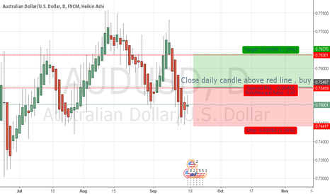 AUDUSD: Close daily candle above red linn , buy